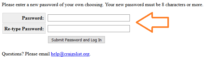 create craigslist account password field