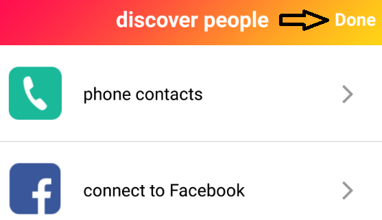 done button phone contacts and connect to facebook image