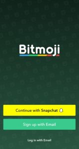 Bitmoji sign up and log in screen