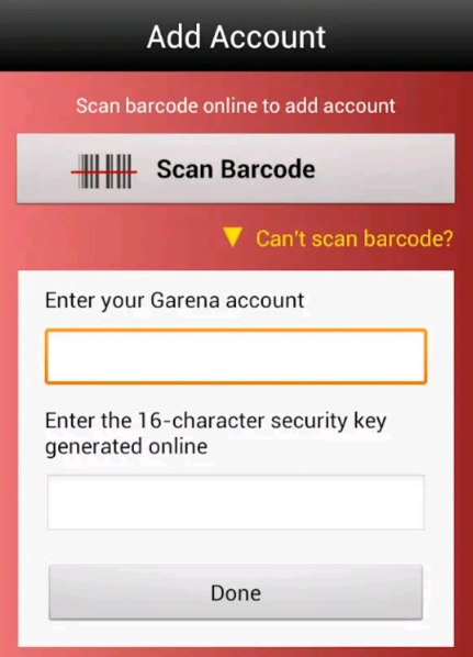 Garena Authenticator setup