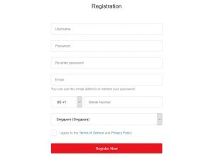 Garena account registration form